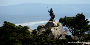 "Statue of ""The Warrior"" overlooking the water"