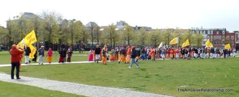 Hari Krishnas parading through Museumplein