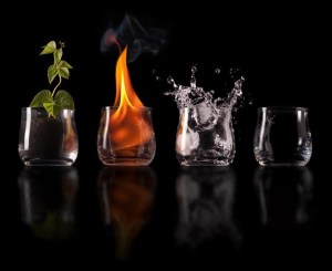 The classical elements of Earth, Fire, Water, Air, operating within Space.