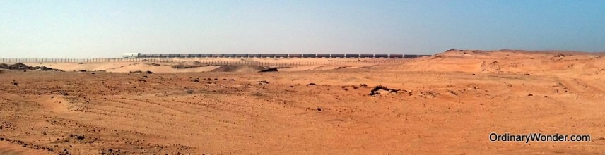 One of the world's longest trains turning around in the distance