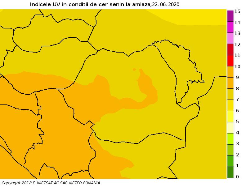 indice radiatii ultraviolete in romania in 6 iunie 2020