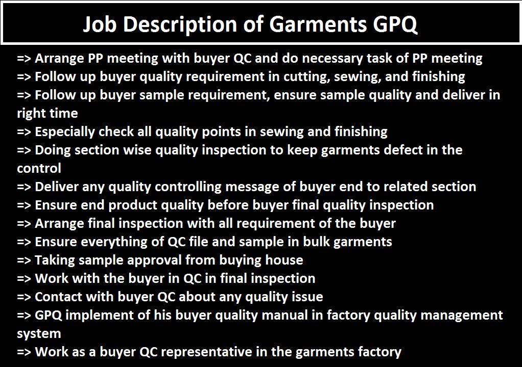 GPQ Job Responsibilities in Apparel Industry