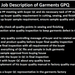 GPQ Job Responsibilities in Apparel Industry