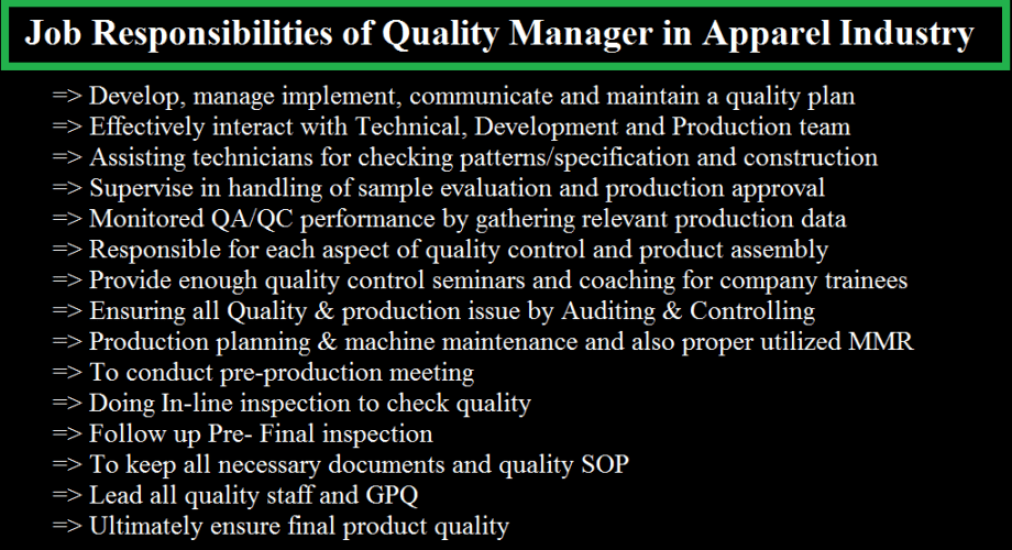 Job Responsibilities of Quality Manager in Apparel Industry