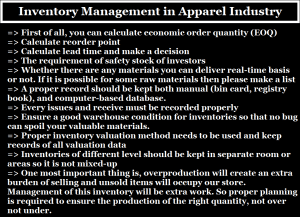 Inventory Management in Apparel Industry
