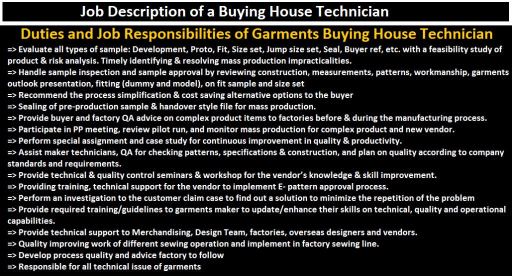 Duties and Job Responsibilities of Garments Buying House Technician, Job Description of Garments Buying House Technician