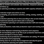 The Job Description of a Production Planner in the Apparel Industry