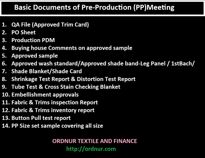 PP Meeting Requirements and Procedure in Apparel Industry