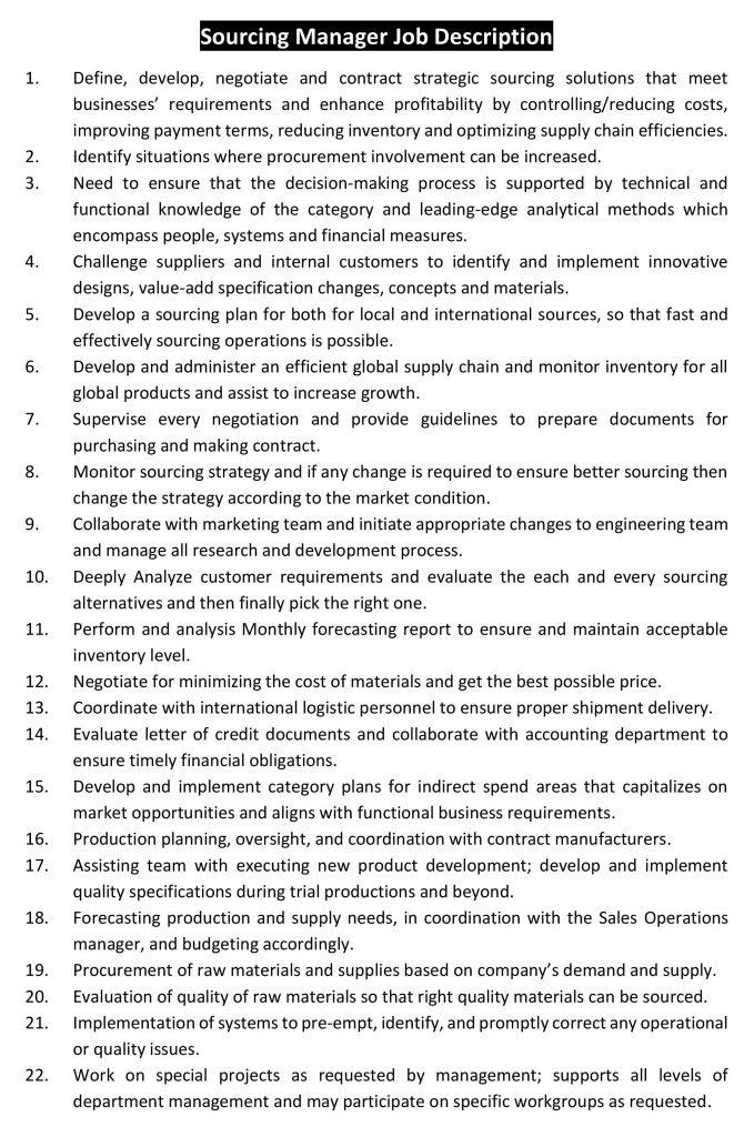 Job Description of Sourcing Manager
