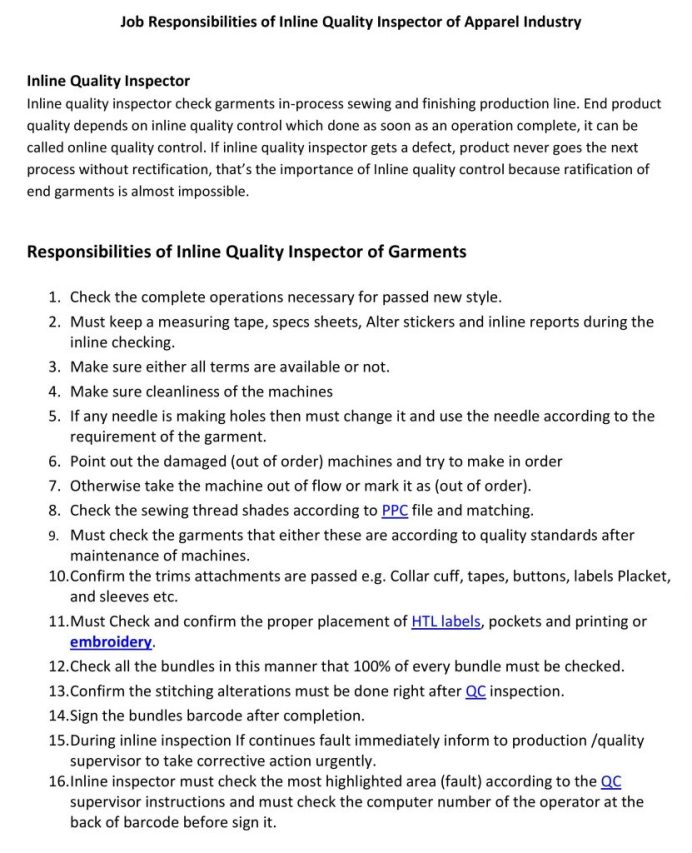 Job Responsibilities of Inline Quality Inspector of Apparel Industry