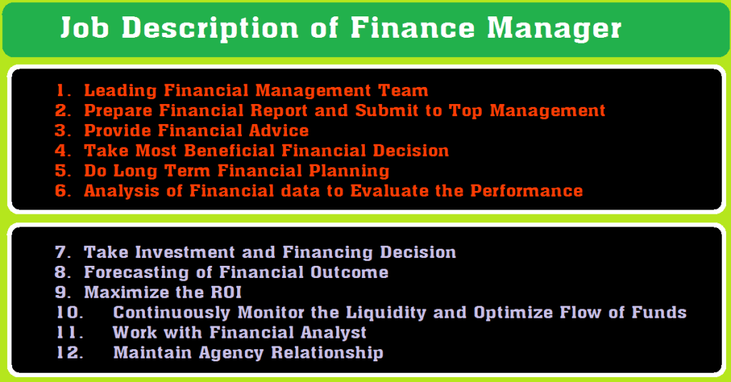 Job Description of Finance Manager