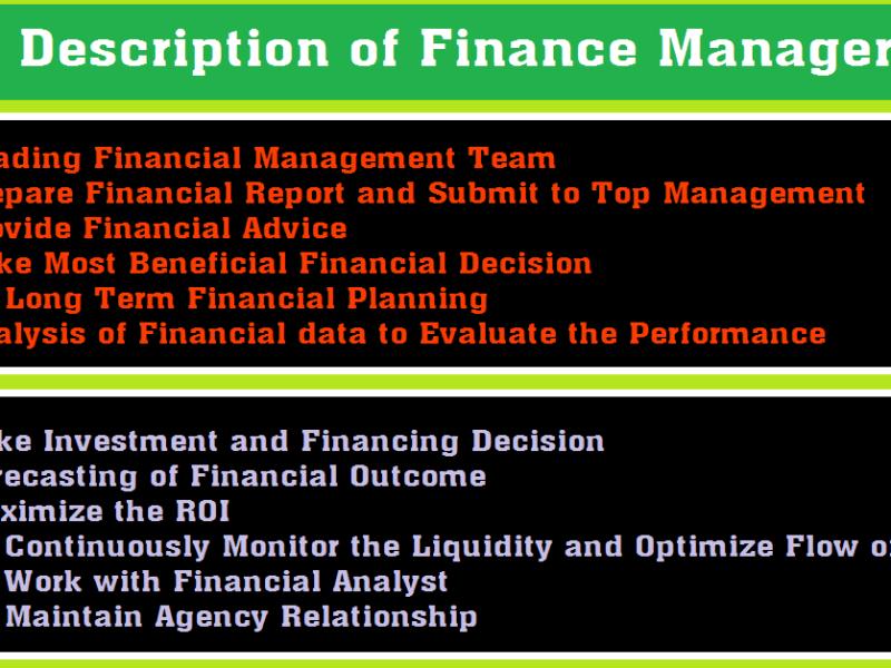 Finance Manager Job Description [Updated]