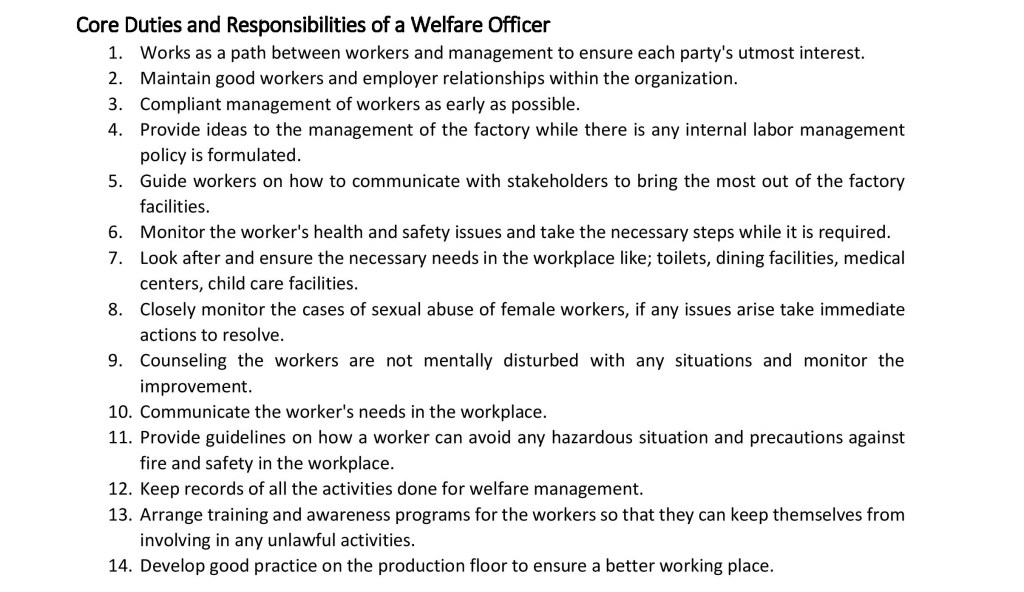 Core Duties and Responsibilities of a Welfare Officer