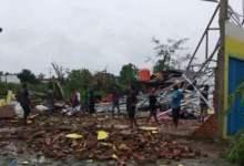 Tornado hit Sumatra killing people and damaging houses