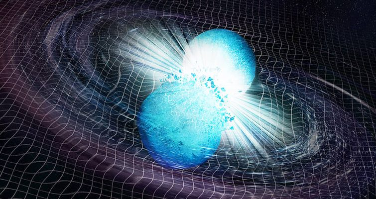 Explosive radiation from a collision of two neutron stars reached the Earth after 10 billion years