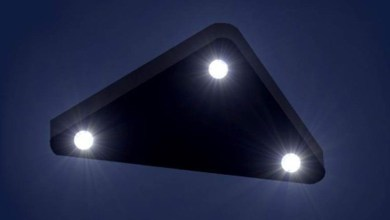 Photo of Huge triangular UFO flying in the night sky over New Jersey, US