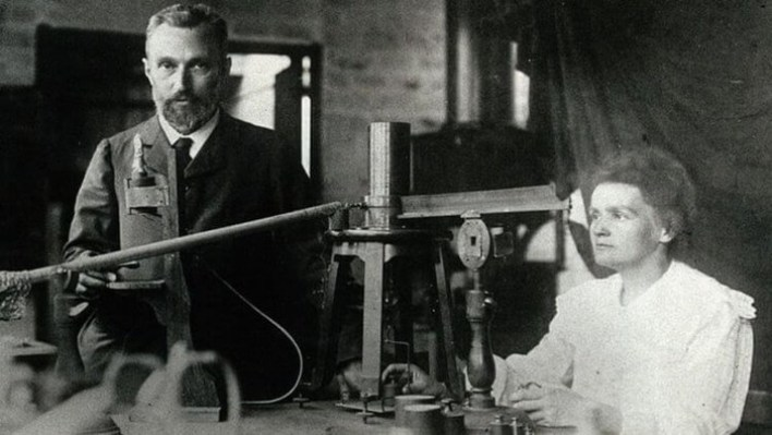Marie Curie with her husband Pierre Curie