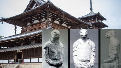 "Photo of The mystery of the ""reptilian"" statues in the Japanese temple of Horyuji"