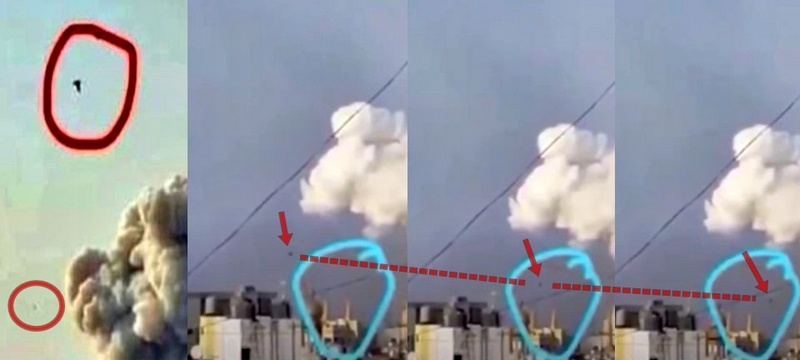 strange spherical object in the sky seen shortly before a powerful explosion in Beirut