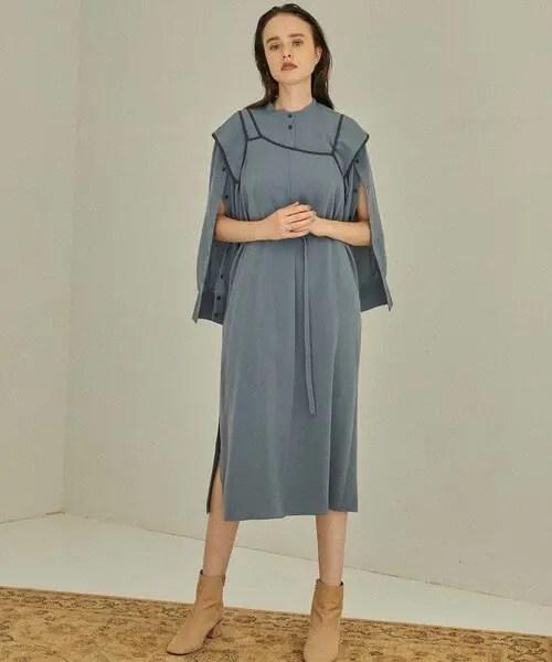 「PUBLIC TOKYO / マルチレイヤードシャツワンピース」ブルー
