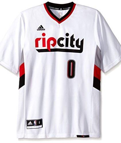 hot sale online 16a9a db837 NBA Portland Trail Blazers Damian Lillard #0 Men's Replica Jersey, Small,  White