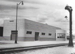 "This was the depot as it stood completed in 1941. You can see the original rounded rear here also bore ""NYSSA."" At some unknown date an angled rectangular section was added, so the letters must have been removed. It's likely that this rear facade was demolished, though this is not known."