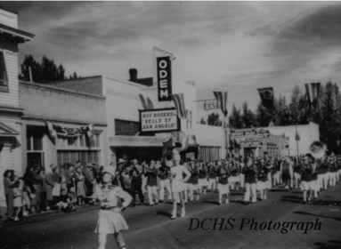 Odem Theater over parade in 1947 (DCHS)