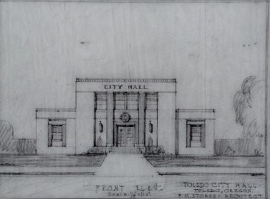 The architect sketch by F.M. Stokes.