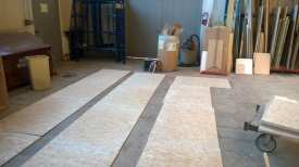 flooring material being finished in the shop