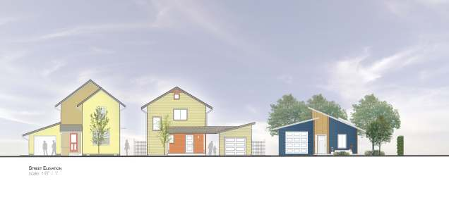Street elevation of previous and proposed BILDS houses