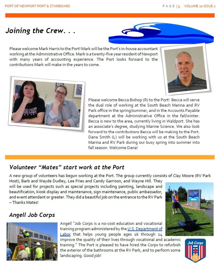 Jun2016 - Port of Newport - Port & Starboard Newsletter Volume 20 Issue 2 online edition 3