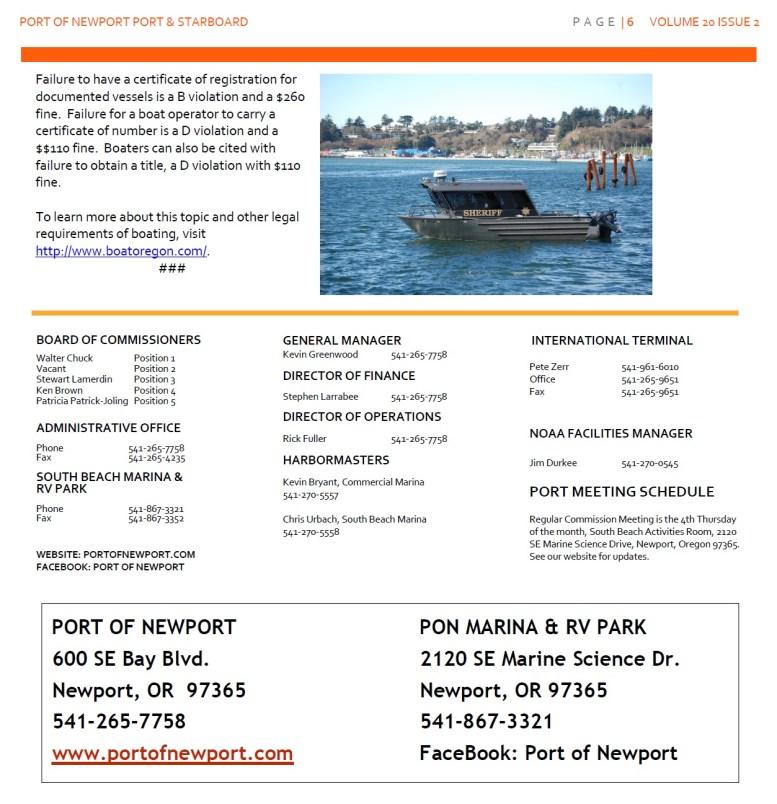 Jun2016 - Port of Newport - Port & Starboard Newsletter Volume 20 Issue 2 online edition 6