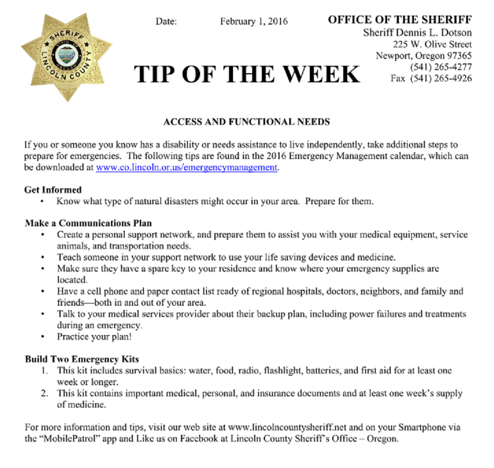 Feb2016 LCSO Tip of the Week - Access and Functional Needs