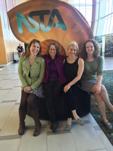 Left to Right: Melissa Steinman, Dr. Kama Almasi, Kara Allen and Katie Sard pose at the NSTA Nautilus after completing their presentation