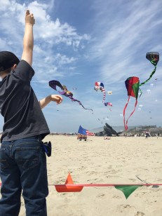 My son flying a kite at the Lincoln City Kite Festival