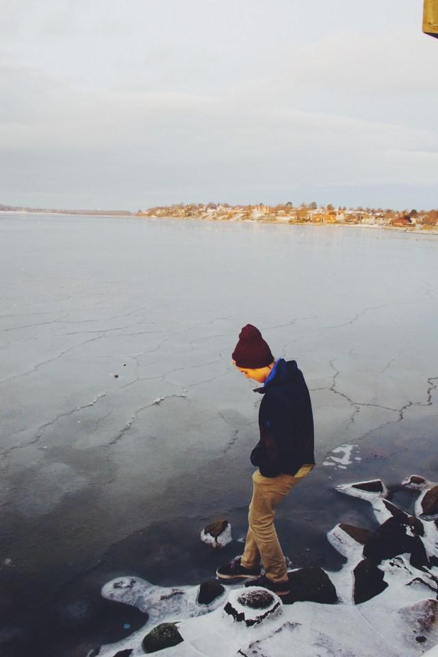 Frozen fjords in Roskilde, Denmark