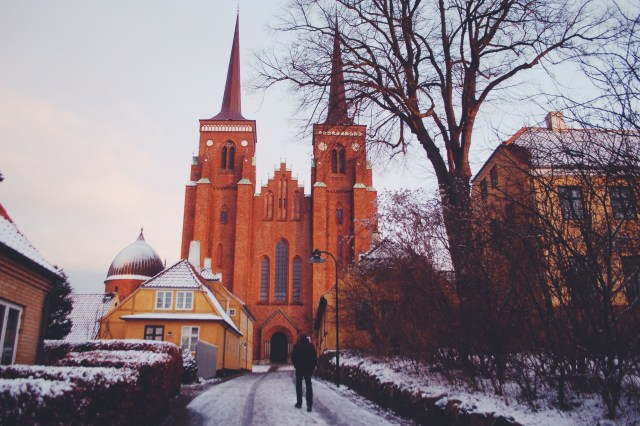 Roskilde Domkirke at twilight in the snow