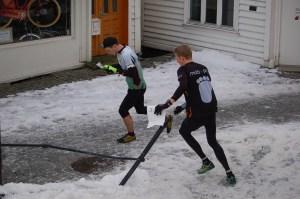 Orienteering Bergen's icy cobblestone streets