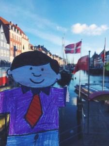Flat Stanley Nyhavn Canal Copenhagen Denmark