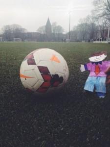 Flat Stanley plays football soccer Copenhagen Denmark