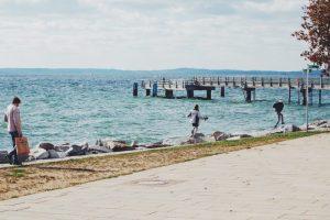 Pier along blue Baltic Sea Ruegen Deutschland