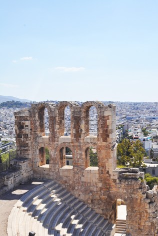 Athens behind the Odeon of Herodes Atticus on slope of Acropolis | Reasons to Adore Athens Greece | Oregon Girl Around the World