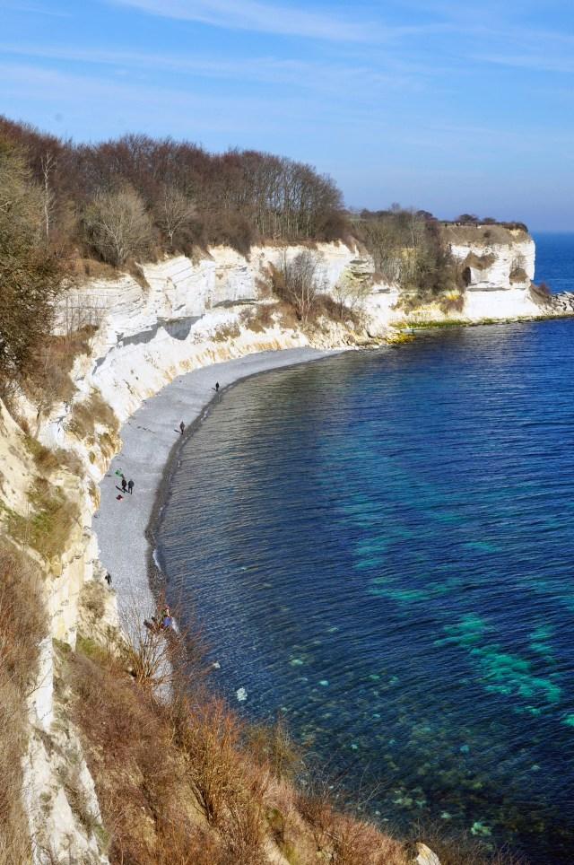 White chalk cliffs over blue Baltic Sea at UNESCO World Heritage Site Stevns Klint, Denmark