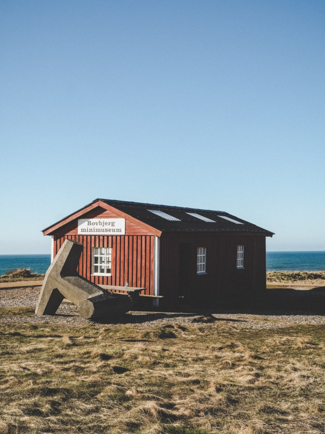 Little red Bovbjerg Minimuseum on Danish West Coast