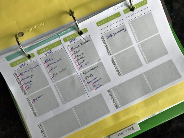 Meal Planner in Camping Notebook