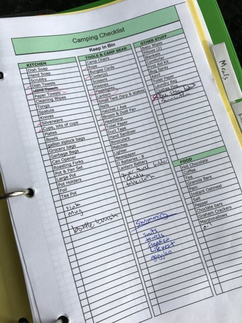 Camping Checklist - what to pack for camping trips