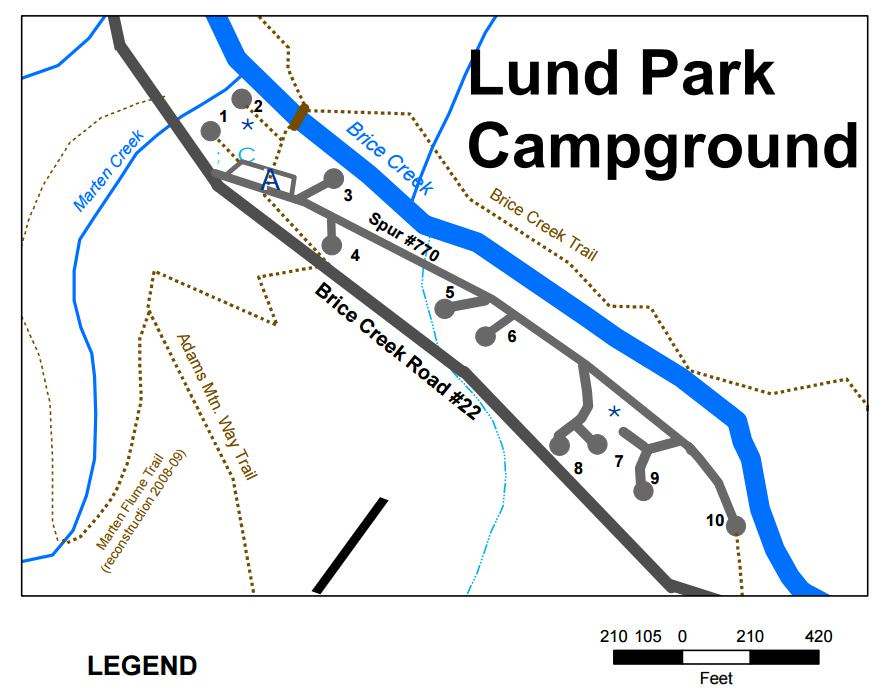 Map of Lund Park Campground