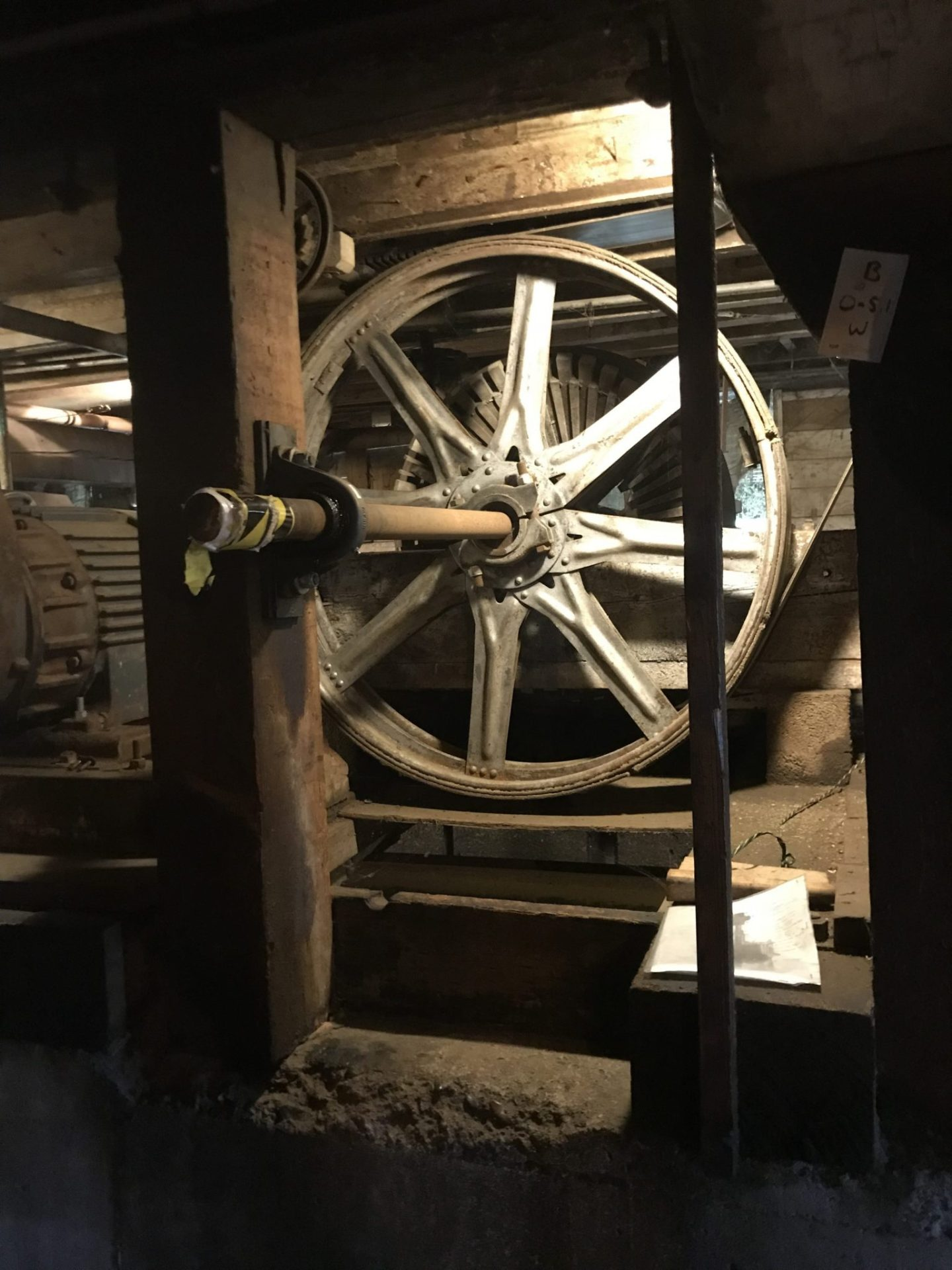 The water wheel that runs the turbine