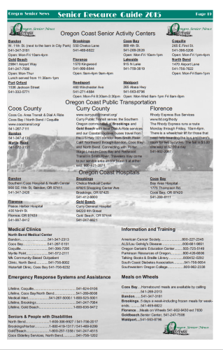 New! Oregon Senior News Resource Guide 2015.