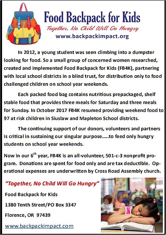 "Help a student in need of food. Donate to ""Food Back Pack for Kids"""